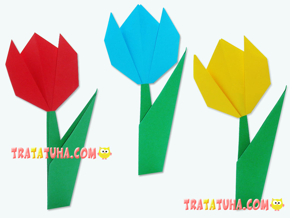 Origami tulip for kids