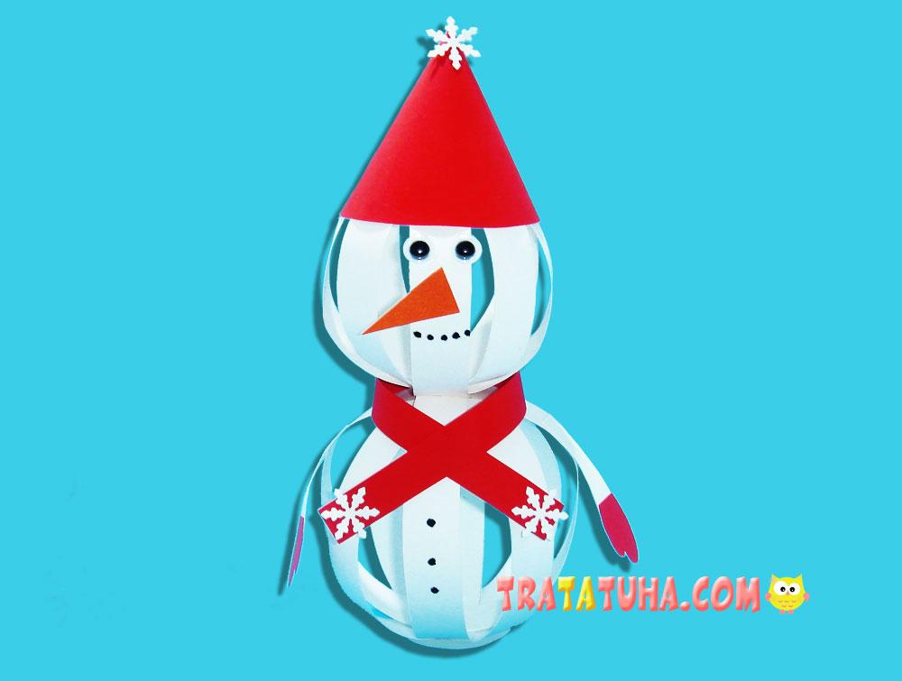 Snowman of Paper Strips