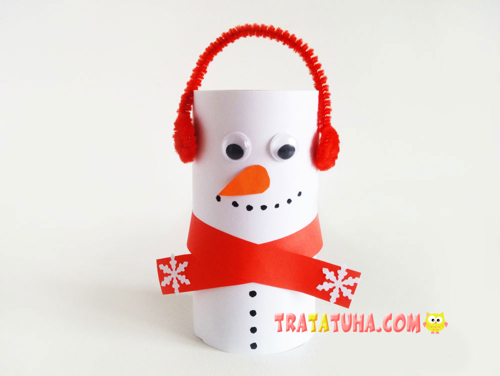 Snowman of Toilet Paper Roll